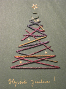 tree of threads as an idea for your christmas card